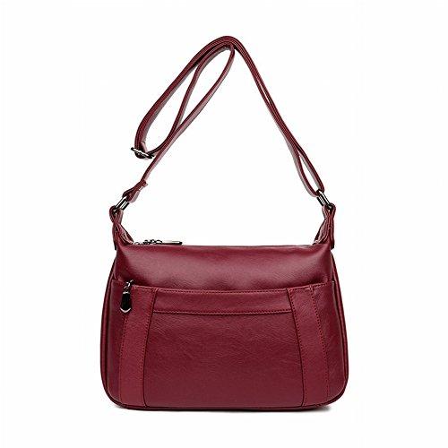 Preisvergleich Produktbild Weibliche Mama Tasche Multi-Tier Crescent Moon Tasche Einfache Allgleiches Leder Schulter Messenger Bag , Weinrot