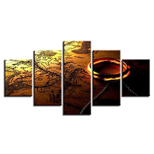 Sanzx Wandbild, Motiv Herr der Ringe und Karte auf Leinwand, modulares Poster für Wohnzimmer, 30 x 40 x 2, 30 x 60 x 2, 30 x 80 cm, 5 Stück - Gerahmte Poster Herr Ringe Der