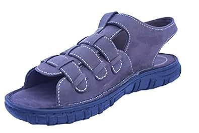 Gms Men's Brown Leather Sandals (SGFBR) - 10 UK