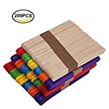 200 Pcs 4.5 Inch Colored Wood Craft Popsicle Sticks Natural Wood Sticks For DIY Crafts Creative Designs