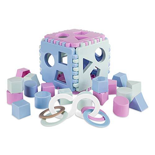 Mimtom Formensortierer Steckwürfel | Steckbox Babyspielwürfel mit 18 Sortierblöcken und Kinderrassel hergestellt in der EU| Lernspielzeug für Kinder von 1-3 Jahren - lila, blau & grün
