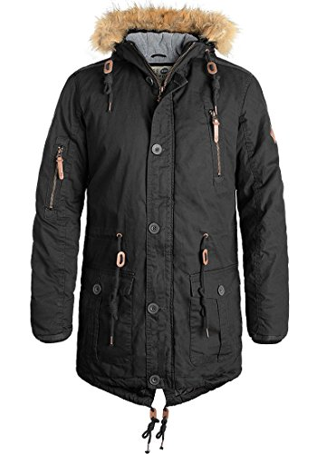 SOLID Clark Herren Parka Winterjacke mit hochabschließendem Kragen und Kapuze aus 100% Baumwolle Black (9000)