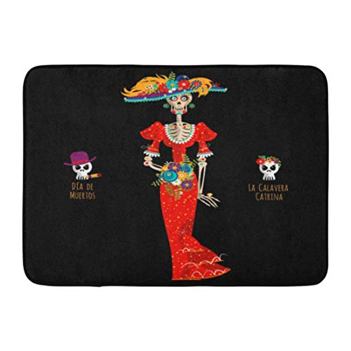 LIS HOME Badteppich Blumen Los La Calavera Catrina Eleganter Schädel Dia De Muertos Mexikanische Tradition Mexico Dead Bathroom Decor Rug (Los Dia Muertos-traditionen De)