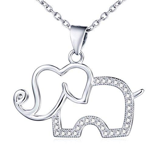 Sterling Silber Zirkonia Elefant Anhänger Halskette mit Rolo Kette 45,7cm Balance Auf Geschenk-karte
