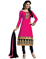 FENNY CREATIONN Women's Georgette Embroidered Semi Stitched Salwar suits