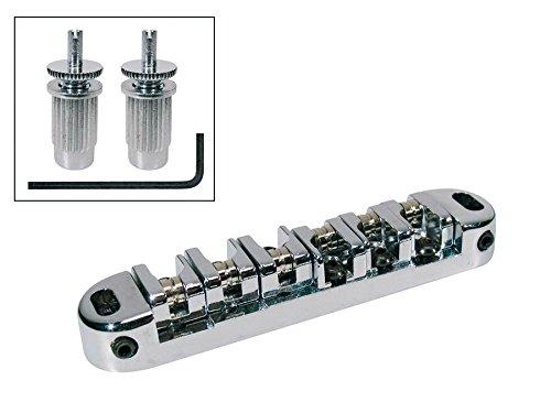 Chunky Tune-O-Matic Roller Saddle Guitar Bridge For Epiphone Gibson Les Paul SG Guitars - Chrome (BL-00033)