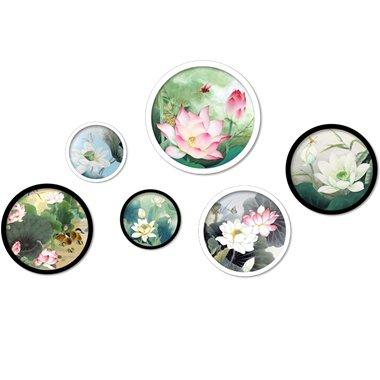 ZNXZZ Traditionelle Chinesische bunte Lotus Platten Wand Aufkleber Abnehmbare DIY Wand Kunst für Wohnzimmer Haus Dekoration -