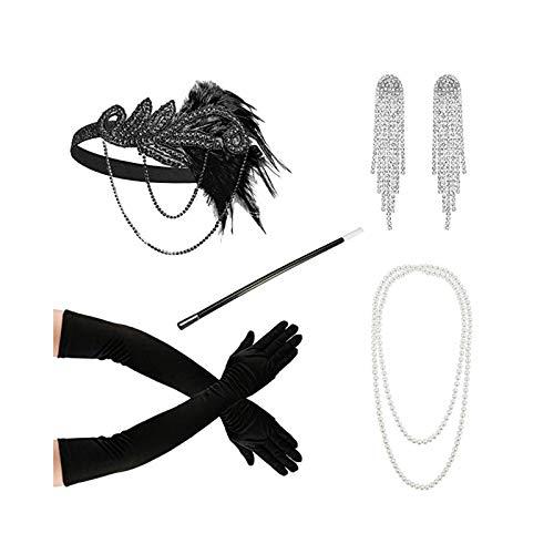 AmDxD Damen 20er Jahre Zubehör Set Flapper Kostüm-Set Feder Retro Stirnband, Perlenkette, Quaste Ohrringe, Handschuhe, Zigarettenhalter 20s Kostüme Inspiriert Accessoires Schwarz