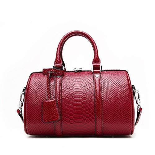 Damenmode Handtasche Schultertasche Ledertasche, Größe: 30 * 29 * 16 cm (11.81 * 11.42 * 6.30 Zoll), Schultergurtlänge 110cm (einstellbar) (Farbe : Fine Grain red, größe : One Size)