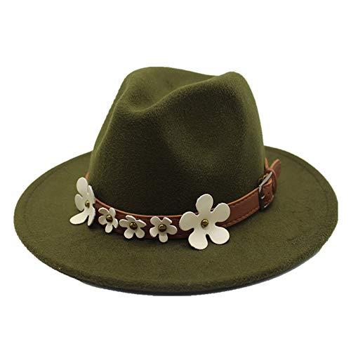 AM-women's hat Mode Mode Fedora Hut Wolle 5 Blume Dekoration Klassische Sombrero Herbst und Winter Frauen Fedora Komfort (Farbe : Green, Größe : 56-58CM) -