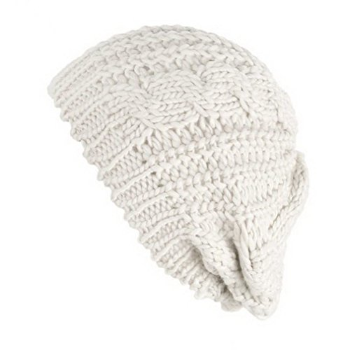 Damen Winter Knit Crochet geflochten Katze Ohren Beret Beanie Ski Strickmütze Cap Gr. Einheitsgröße, Beige - Beige (Slouchy Beret Knit)