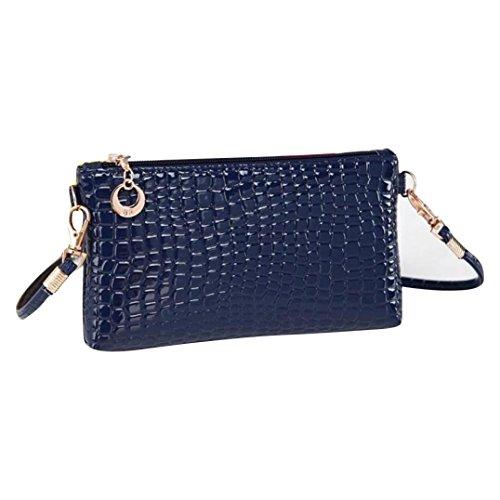 Internet Handtaschen Frauen Krokodil Leder Messenger Umhängetasche Schultertasche (blau)