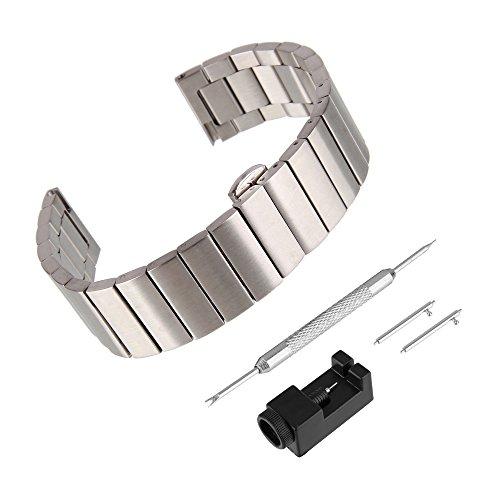 BEWISH 22mm Uhrarmband Edelstahl Ersatzband Solide Metall Schnellwechselbügel Schmetterlingswölbung Uhrenarmbänder Edelstahlschließe Wechselarmband Uhr Armband Smart Watch...