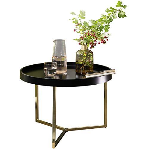 FineBuy Couchtisch Evi 58,5x42x58,5cm Schwarz/Gold Sofatisch Metall Rund | Designer Retro...