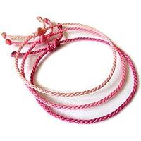 X3 Bracelets corde/fil Mix Rose (Pastel Bonbon Fuchsia). Simple/Unisexe/Porte chance/Brésilien. Fins cordons souples fait et tressés main avec du fil ciré. Ajustable avec nœud coulissant. Réf.#X3D