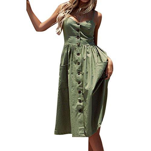 Decha Damen V Ausschnitt Trägerkleid Schulterfreies Spaghetti Buegel Blumen Sommerkleid Elegant Vintage Cocktailkleid Knielang Kleider mit Knöpfen Abendkleid Strandkleider - Sommer-spaghetti-bügel-kleid