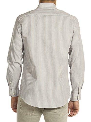 Carrera Jeans Camicia 213B1230A per Uomo, Stile Classico, Tessuto Tinto Filo, Vestibilità Normale, Manica Lunga C09 - Fantasia a righe tinto filo bianco-beige-blu