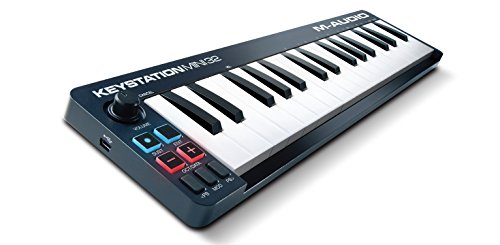 M-Audio Keystation Mini 32 II, Compact Portable 32-Key USB/MIDI Keyboard Controller with Synth-Action Velocity-Sensitive Keys