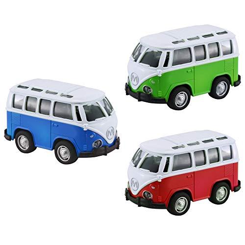 3Pcs 1:36 Mini Alloy Diecast School Bus Fahrzeug w/Light & Music zurückziehen Auto Multi-Color (Go Go School Bus)