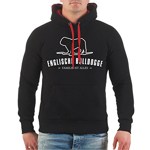 Männer und Herren Kapuzenpullover Englische Bulldogge Größe S - 8XL schwarz/rote Kapuze
