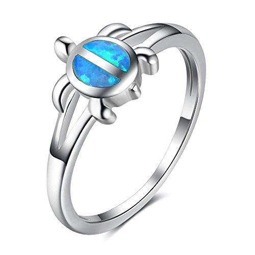 Australische Edelsteine Opal Statement Ringe Schildkröte für Frauen Valentines Geschenk , 7 (Valentine Ringe)