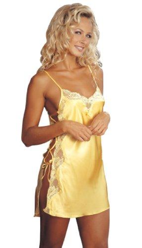 Sexy Hemdkleid mit Spitzenbesatz Buttercup Yellow