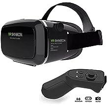 KAMLE VR Casque de réalité virtuelle 3D VR Lunettes pour jeux et films Virtuelle Lunettes casque avec les iPhone 6S/6 Plus/6/5S/5 C/5 7/7Plus, les Samsung Galaxy S5/S6/Note4/note5 S6 S7 S8 et autres smartphones sous Android 4,0 à 6,0 with【Télécommande Bluetooth】
