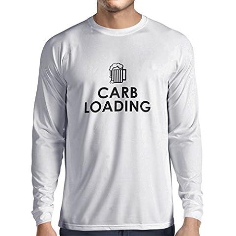 Langarm Herren t shirts Carb Loading - lustige Fitness Zitate, Fitnessstudio Kleidung (XXX-Large Weiß (Pulver Regular Zucker)