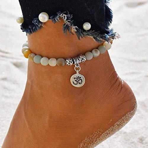 Bobopai Anklet Bracelet Foot Accessories Fashion Double Chain Beach Jewelry Barefoot Charm Bead Ankle Bracelet - Bohemian Style Adjustable Women Girls (E) (Swarovski-western Gürtel)
