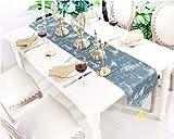 Lartum Chemin De Table Triangle Bleu Encre Post-Moderne De Style Européen Chemin De Table Brodé Design Naturel Unique avec Pompon Plateau À Thé en Tissu, 30 * 180Cm