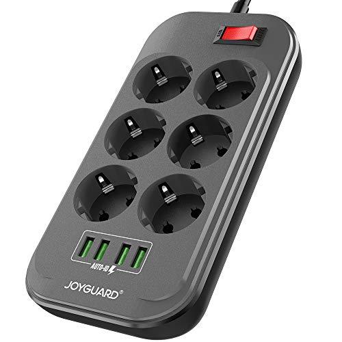 Joyguard Multiprise USB, Multiprise Parasurtenseur Parafoudre 6 Prises avec 4 Ports USB Power Strip avec Interrupteur Surtension-Cordon de 2m-Noir