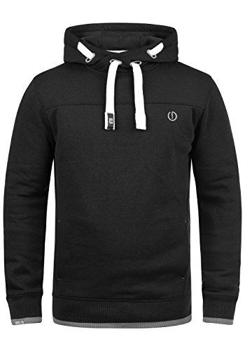 !Solid Benjamin Hood Herren Kapuzenpullover Hoodie Pullover Mit Kapuze Cross-Over-Kragen Und Fleece-Innenseite, Größe:XL, Farbe:Black (9000) 50 Sweatshirt Fleece Hoodie