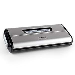 Klarstein FoodLocker machine à vide • machine à vide • thermo soudeuse • 16 l/mn • 3 mm soudure • commandes tactiles • aspire • soude • automatique et manuel • 10 sacs sous vide • inox brossé • gris