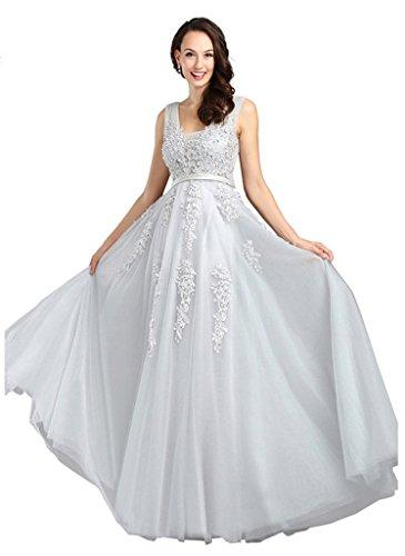 Eudolah Damen Abendkleid A-Linie langes Tuell Ballkleid Brautjungfer Cocktail Party Kleid Grau