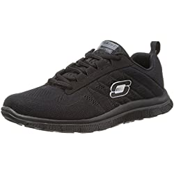 Skechers Sport Women's Sweet Spot Fashion Sneaker, Black, 6.5 US Wide