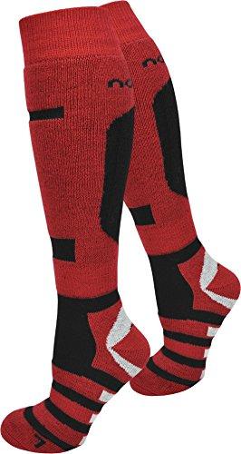 normani 2 Paar Allround Skisocken Ski-Kniestrümpfe, speziell gepolstert Farbe RIPP/Rot/Schwarz Größe 43/46