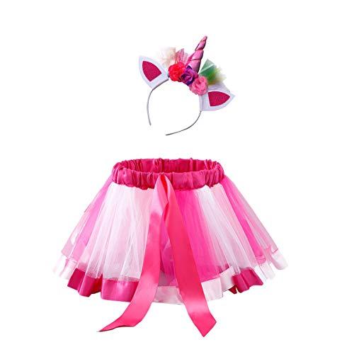 TENDYCOCO 2 stücke Kind Leistung Midirock Einhorn Haarband Set Schöne Dekor Rock für Mädchen Kind Kind (M Größe)