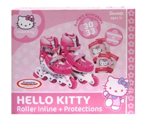 HELLO KITTY - Patin en linea tamano 2 = 34-37 + 2 protecciones