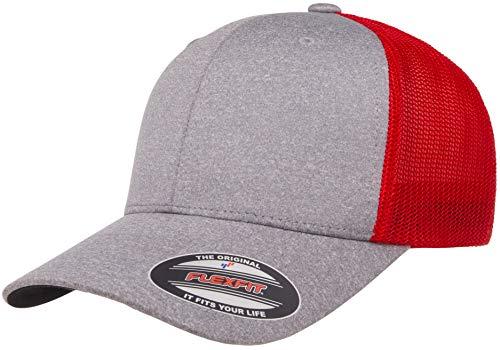 Flexfit Herren Melange Stretch Mesh Cap Mütze, Heather/Red, Einheitsgröße