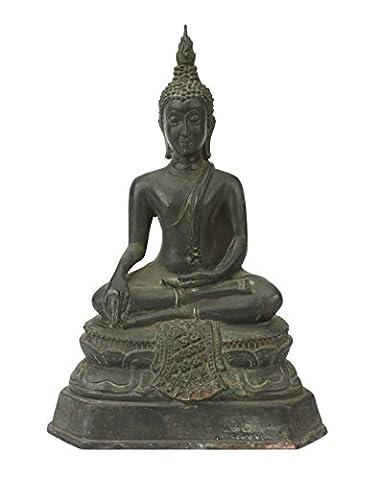 Thai Bouddha assis Statue en métal bronze, environ 24cm de
