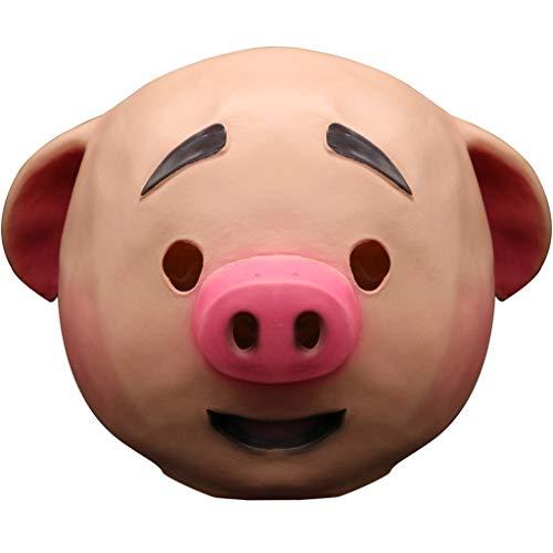 AmaMary schweinemaske Latex, Niedliche Cosplay Rollenspiel Schwein Vollkopfmaske Comic Mask Maskerade Schweinkopfmaske (A)