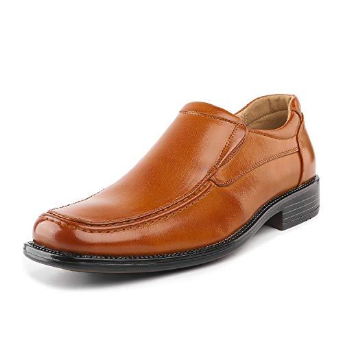 Bruno Marc Herren Goldman-02 Braun Leder Gefüttert Square Toe Loafers Schuhe Größe 43 EU Square Toe Slip