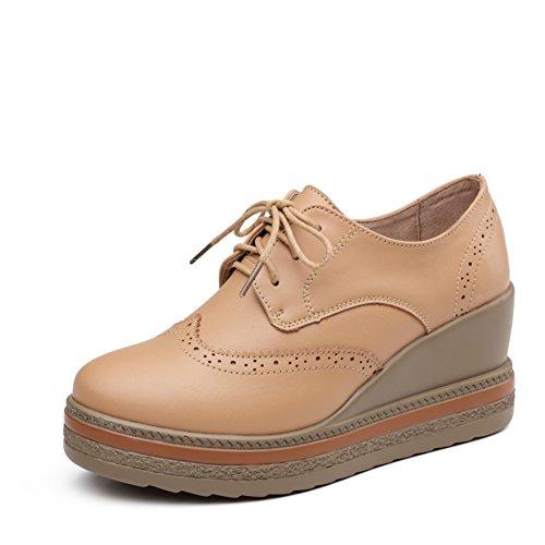 Chaussures plateforme semelle épaisse d'Angleterre chez la femme printemps/Chaussures plates en cuir Brock/Cales chaussures/Chaussures femme B