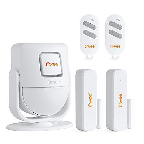 tiiwee X4 PIR Bewegungsmelder Alarmsystem mit 2 Fernbedienungen und 2 Tür Fenstersensoren - Drahtlos - 125 dB Sirene - erweiterbar - Türklingel und lauter Sirenen-Sound - 2 Jahre Garantie