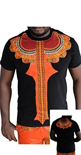 pafric Designs Stampa Africana - Uomo Kente T Shirt Design, Africa Dashiki Tee Shirt, Kente Shirt Black-Dash (Mens Dashiki)