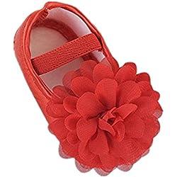 BYSTE Chiffon fiore Banda Elastica Antiscivolo Fondo morbido Scarpe da bambino Neonato Scarpe da passeggio Scarpine primi passi (Rosso, 0-6 mesi)