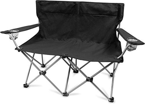 normani 2-Sitzer Campingstuhl Doppelklappstuhl Campingsofa bis 250 Kg inkl. Tragebeutel und Getränkhalter Farbe Schwarz