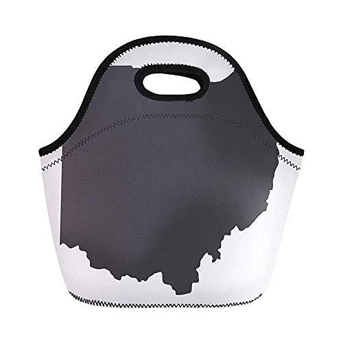 Cincinnati Ohio State Map in schwarz auf Form abstrakte isolierte Neopren-Lunchtasche für Frauen für Arbeit Erwachsene Herren Kinder Picknick Lunchbox Modern Lunchbox - State-geschenk-tasche Ohio