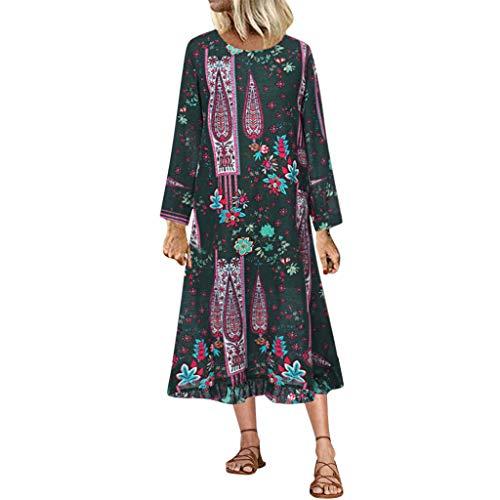 LILIGOD Damen Plus Size Langarm Langes Kleid Vintage Floral Bedruckt Maxikleid Blumen Kleid Elegant Böhmischen Kleid O-Ausschnitt Casual Boho Kleid Party Langes Kleid Strandkleid -