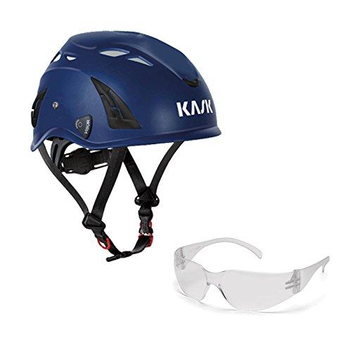 KASK Schutzhelm, Bergsteigerhelm, Industriekletterhelm Plasma AQ - Arbeitsschutz-Helm + Schutzbrille klar - EN 397, Farbe:dunkelblau